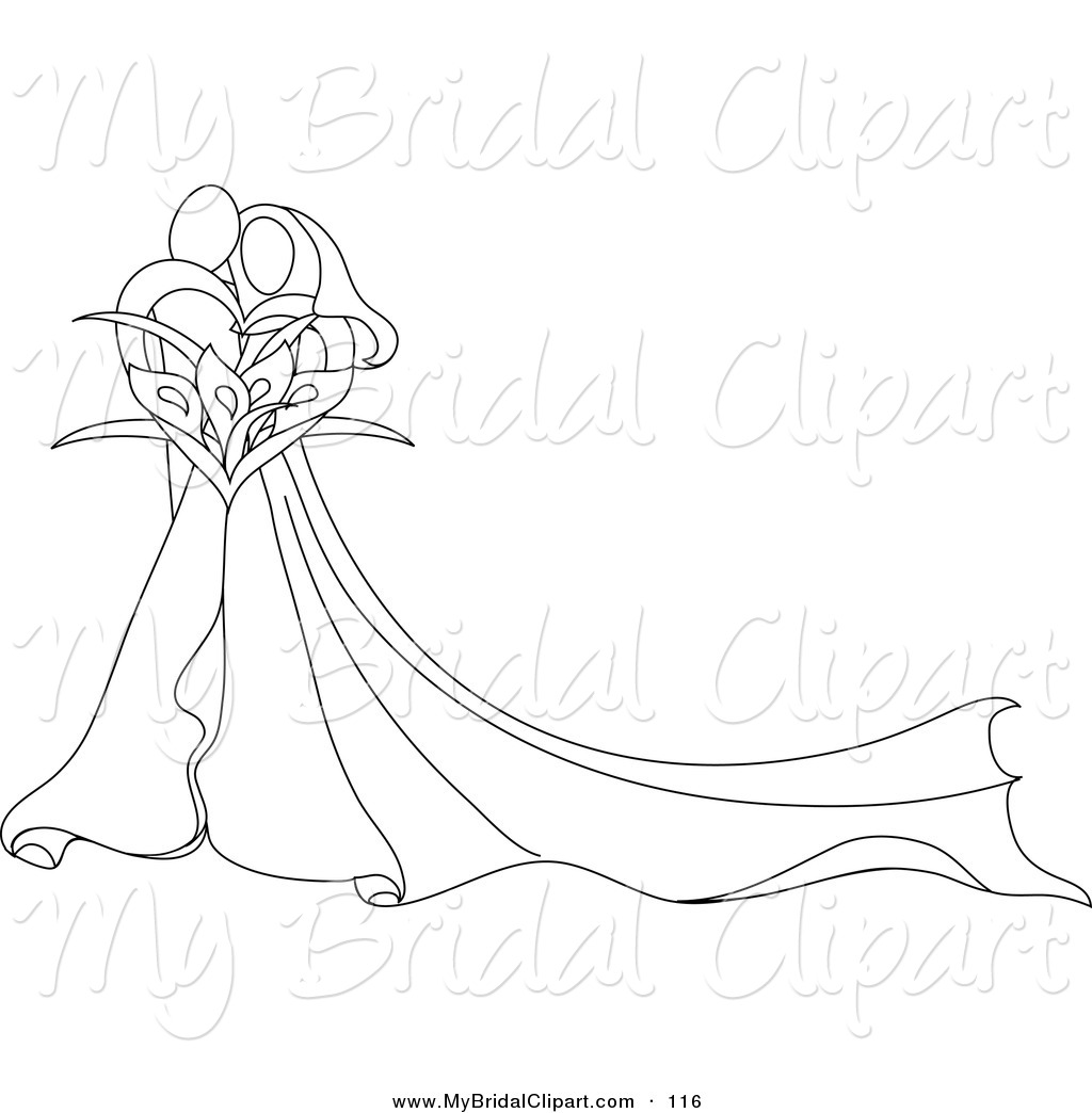 Bridal clipart bride sketch. Of a pretty abstract