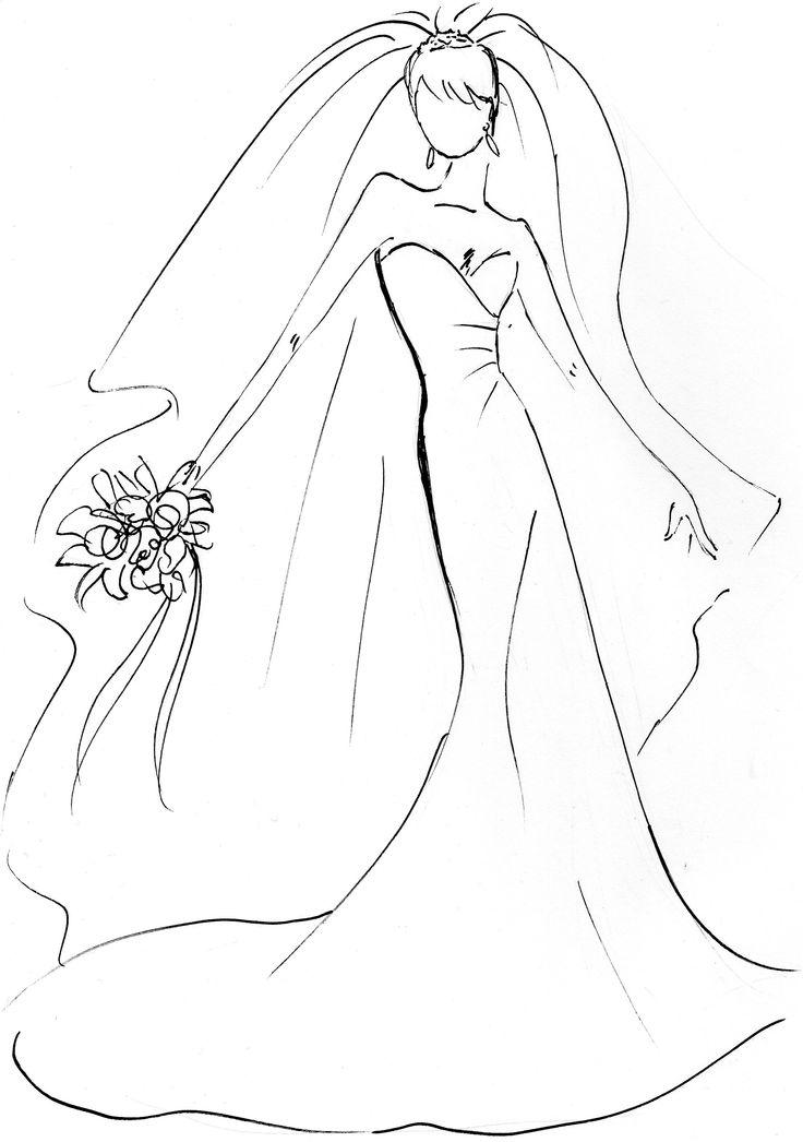 Download wedding dress clip. Bridal clipart bride sketch