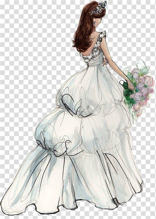 Woman holding flower bouquet. Bridal clipart bride sketch