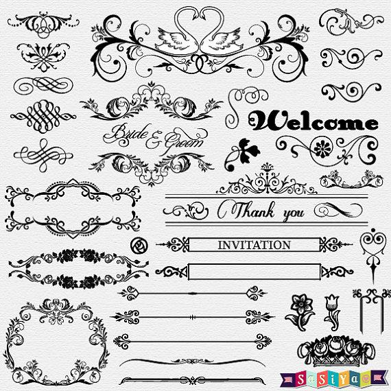 Instant download vintage ornament. Clipart wedding element