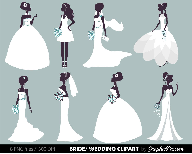 Bridal clipart cartoon. Wedding bride digital groom