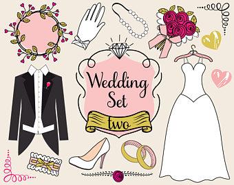 Doodle chalkboard wedding clip. Bridal clipart cartoon