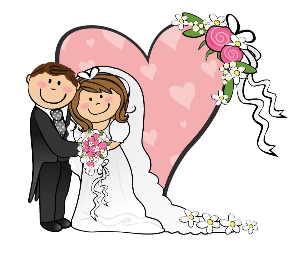 Cartoon funny bride and. Groom clipart