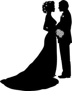 Vintage and groom silhouette. Bride clipart elegant bridal