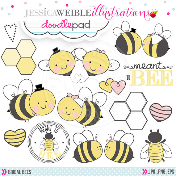 Bridal clipart cute. Bees digital for commercial