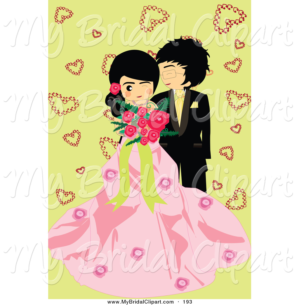 Bridal clipart cute. Of a wedding couple