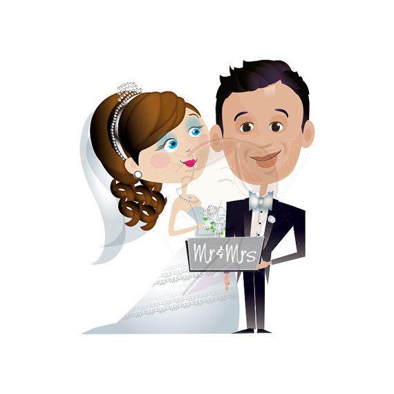 Wedding bride groom party. Bridal clipart cute