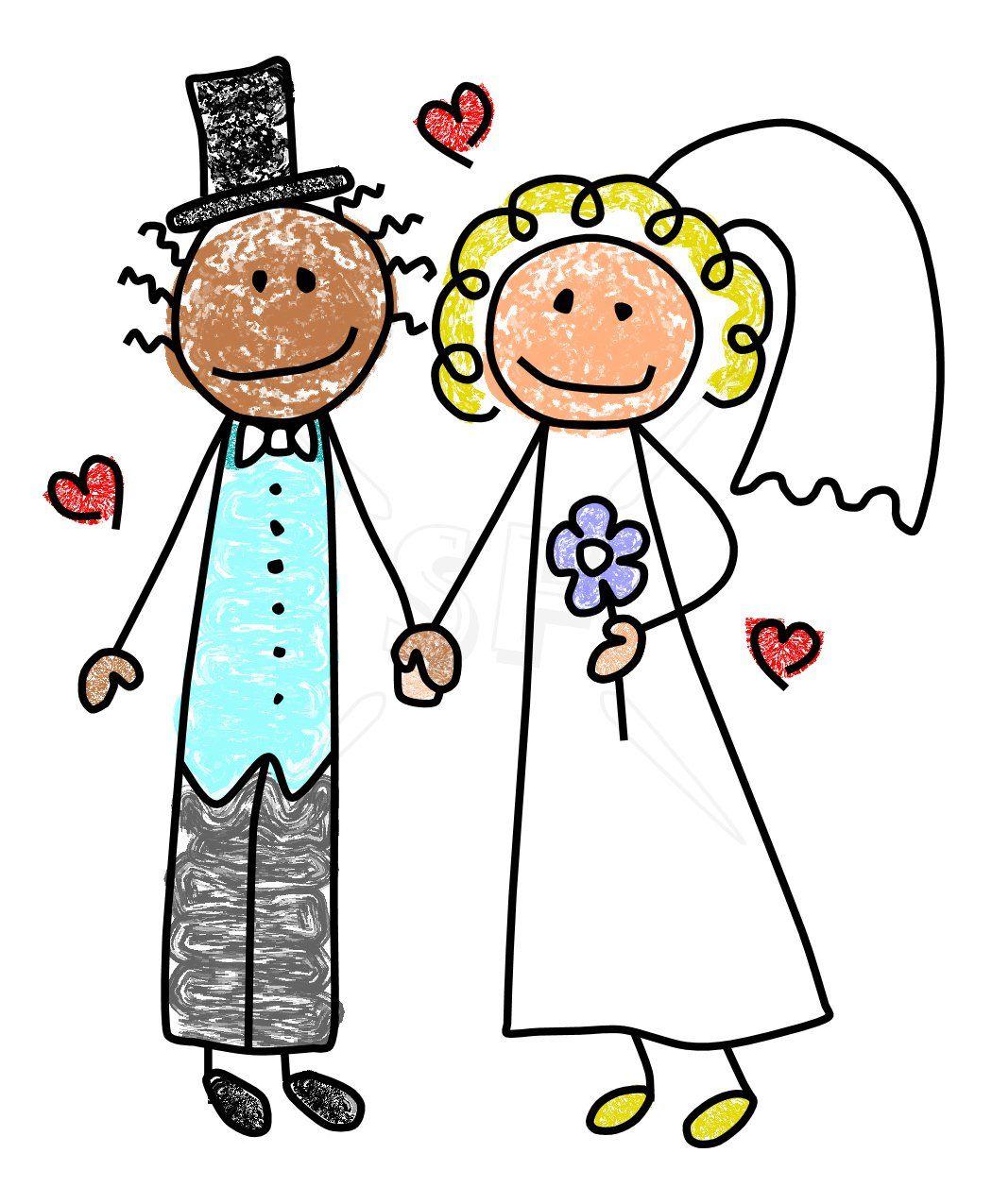Bridal clipart cute. Groom bride stick figures