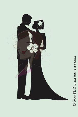 Bridal clipart elegance. Bride groom wedding silhouette
