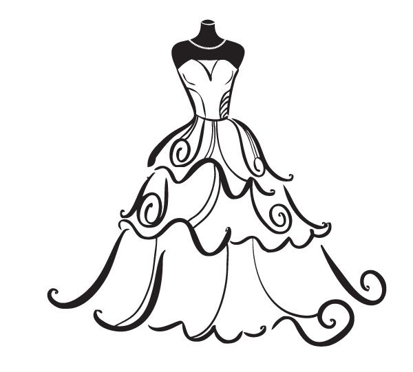 Wedding free best siluete. Dress clipart
