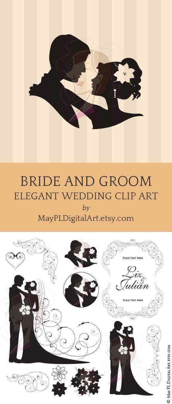 Bride groom wedding silhouette. Bridal clipart elegance