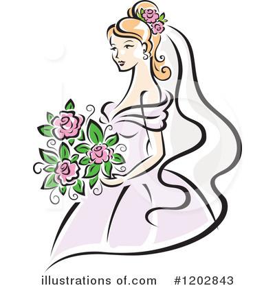 Bridal clipart line. Bride illustration by vector