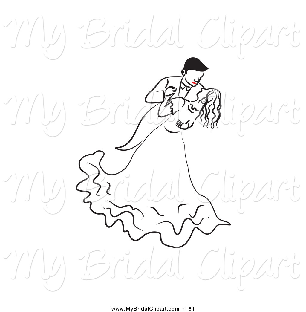 Bridal clipart line. Of a dancing drawn