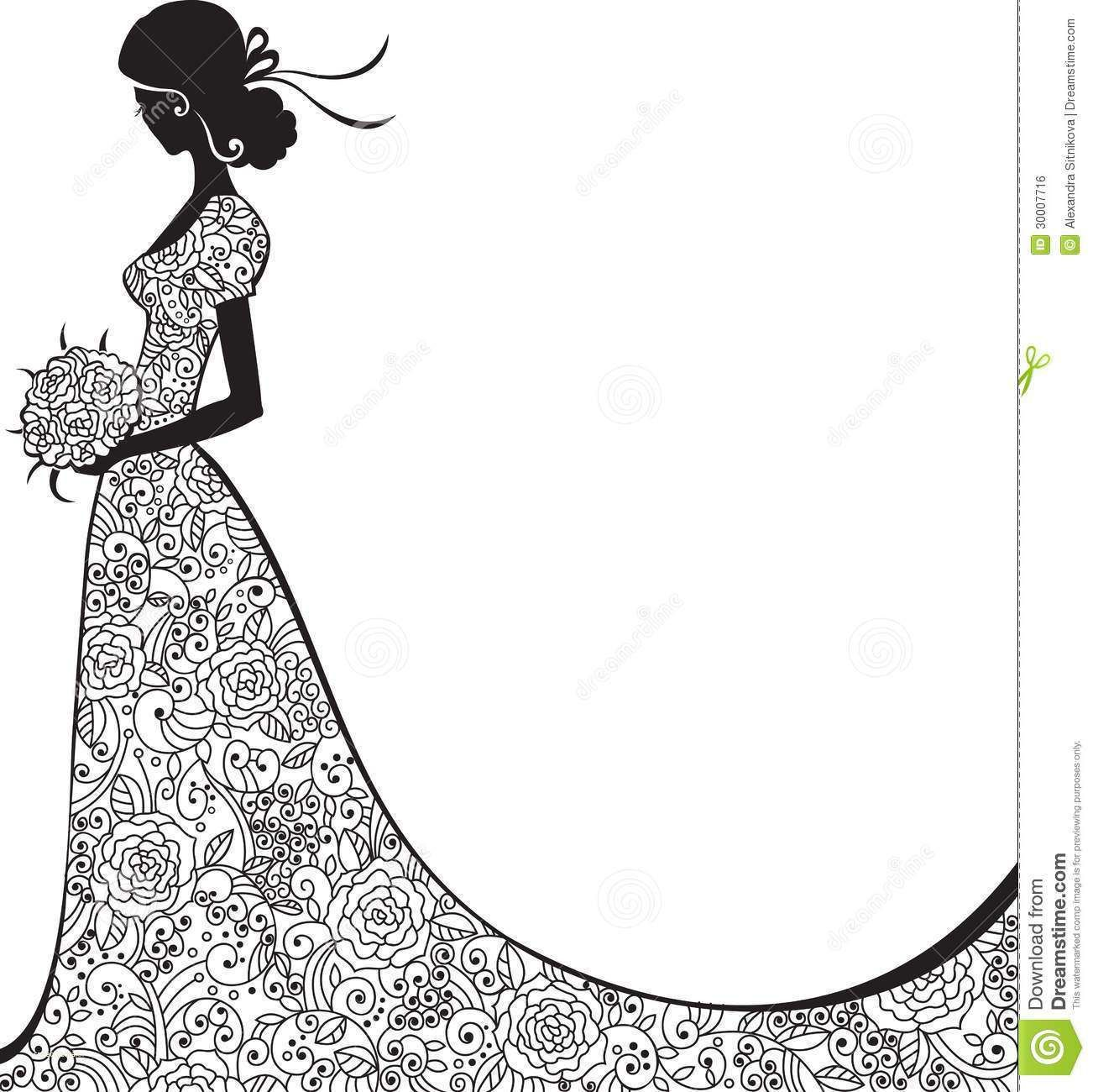 Awesome modern wedding ideas. Bride clipart black and white