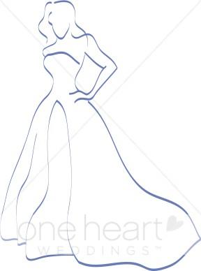 Teal bride. Bridal clipart outline