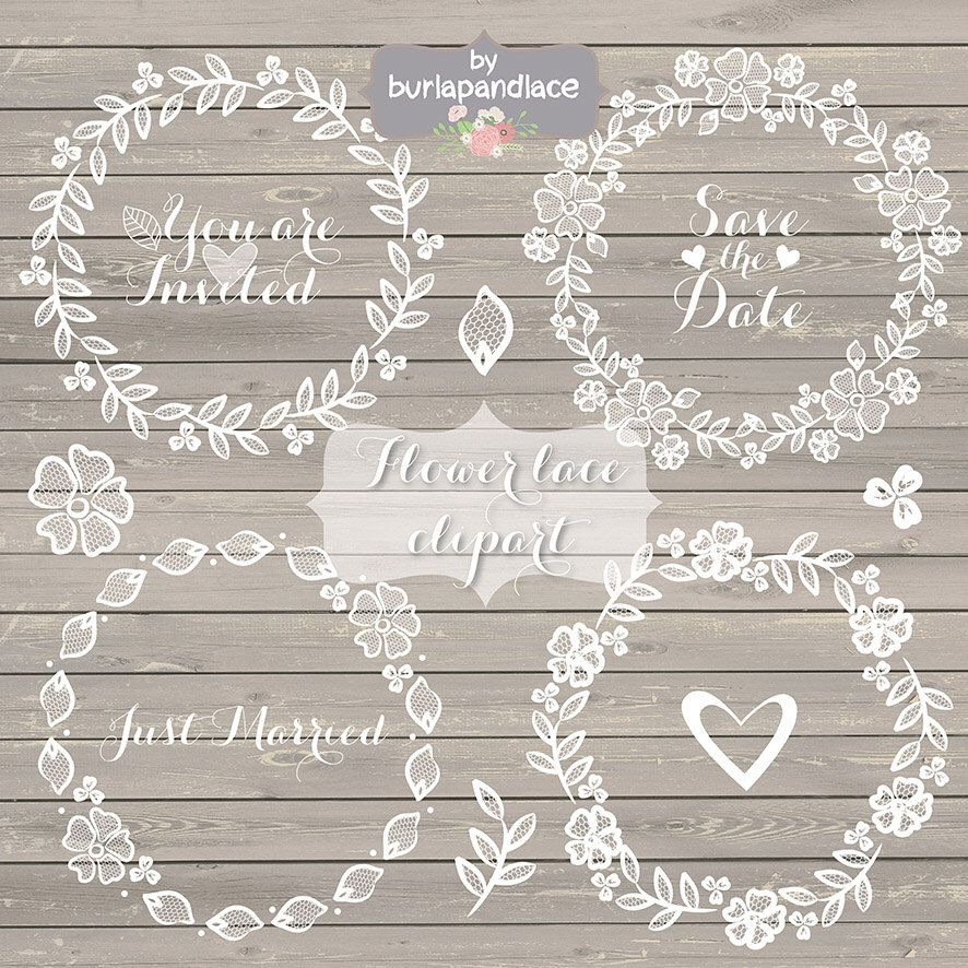 Bridal clipart rustic wedding. Lace hand drawn wreath
