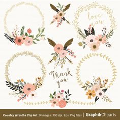 Bridal clipart rustic wedding. Floral pink heart country