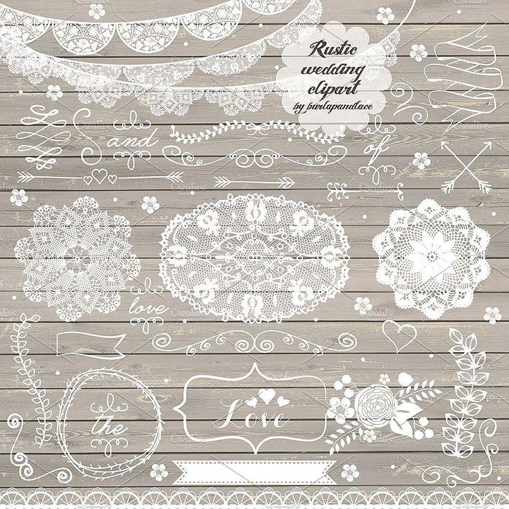Lace hand drawn laurels. Bridal clipart rustic wedding