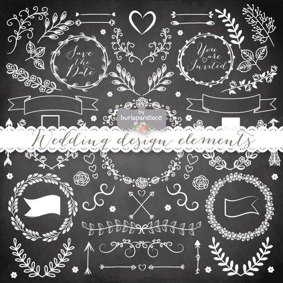 Bridal clipart rustic wedding. Lace hand drawn laurels