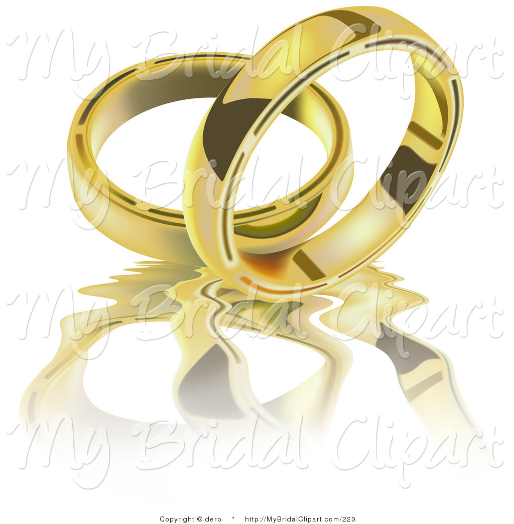 Bridal clipart wedding band. Of two golden rings