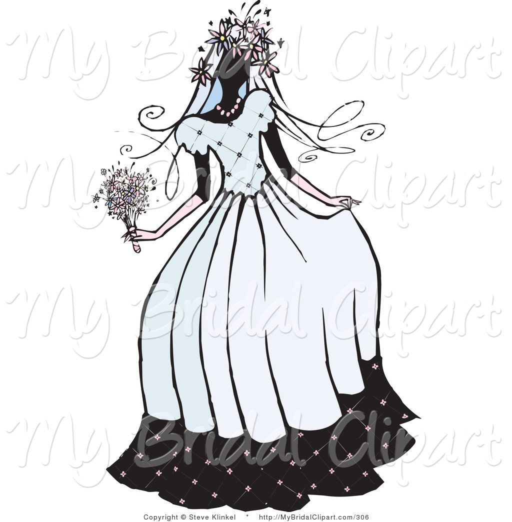 Bridal clipart wedding day. Of a silhouette beautiful