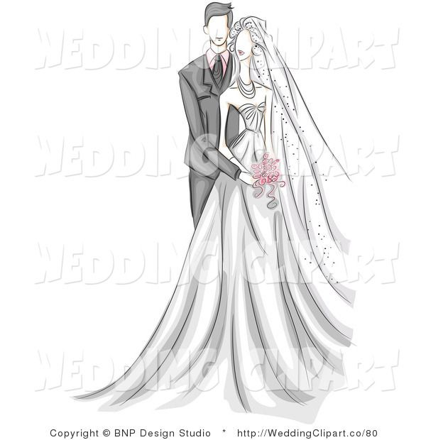 Couple standing together . Bridal clipart wedding day