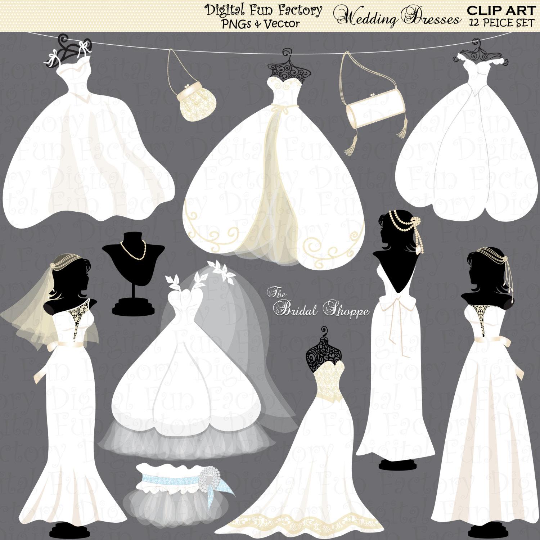 Bridal clipart wedding dress. Clip art silhouette invitation
