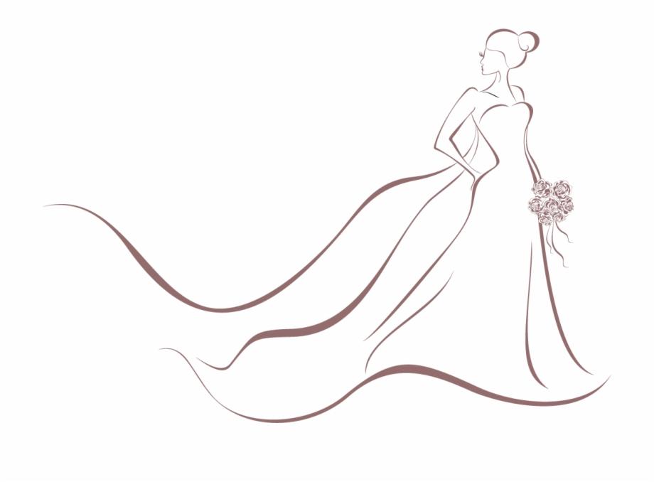 Bridal clipart wedding dress. Invitation bride clip art