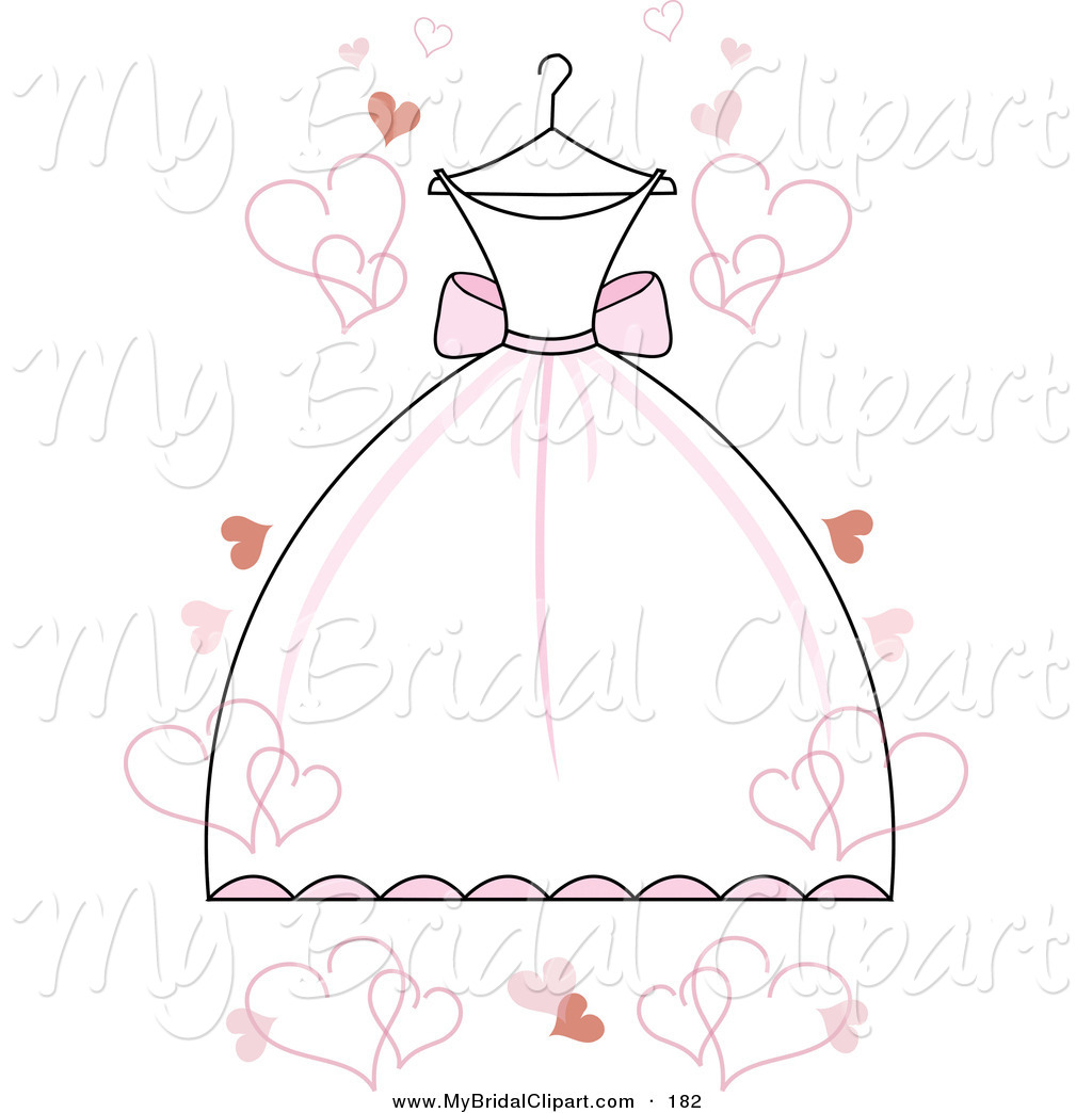 Bridal clipart wedding dress. Of a white with