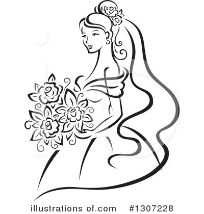 Illustration by vector tradition. Bride clipart