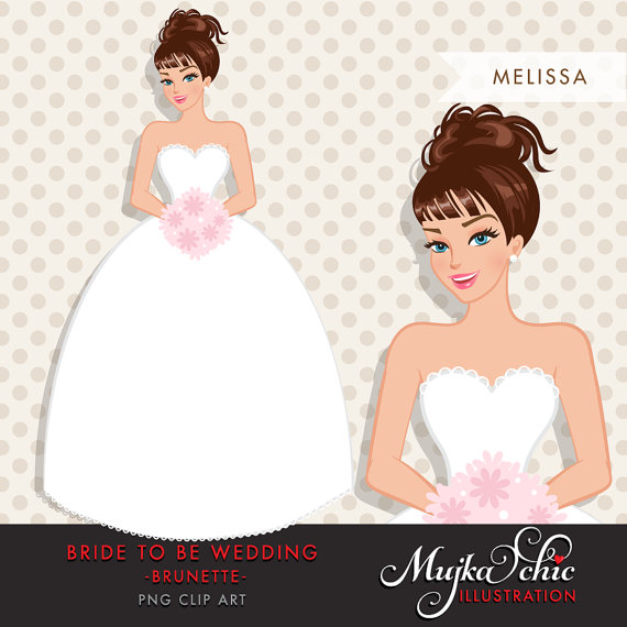 Bride clipart. Brunette to be wedding