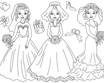 Clip art etsy digital. Bride clipart black and white