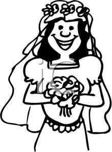 Picture smiling . Bride clipart black and white