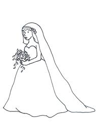 Bride clipart black and white.