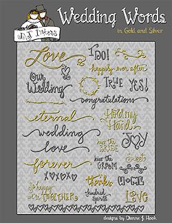 Romantic wedding words clip. Bride clipart bride word