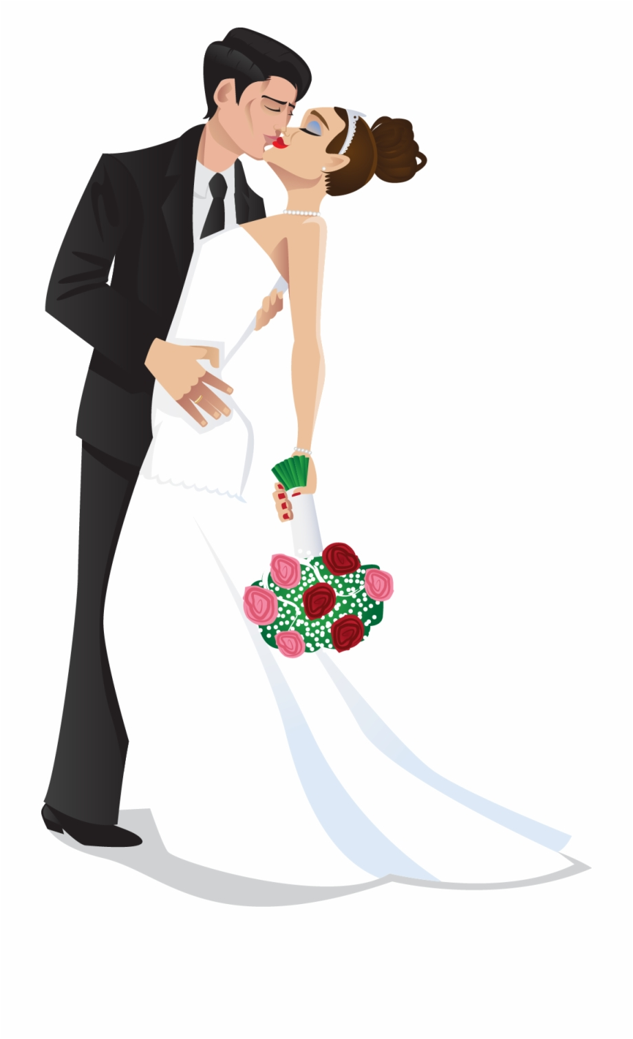 Clipart wedding groom. Bride and kiss the