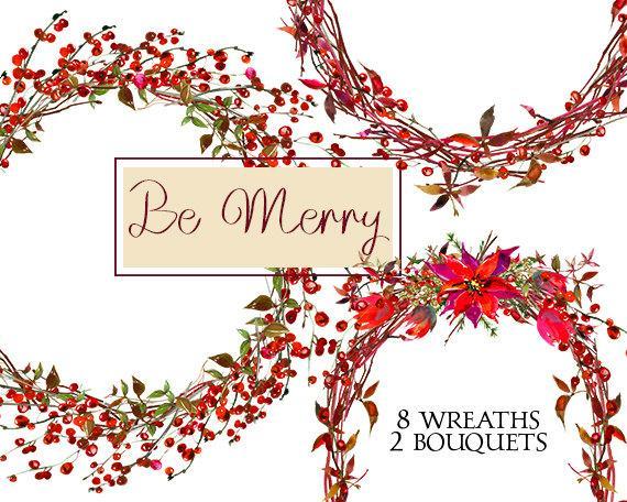 Wreaths watercolor poinsettia berries. Bride clipart christmas