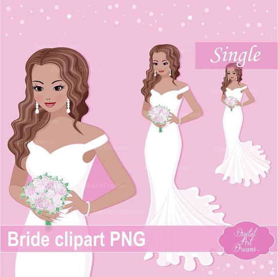 Cute character fashion woman. Bride clipart christmas