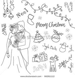 Bride clipart christmas. A and groom with