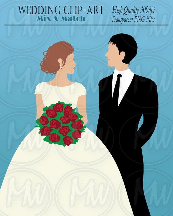 Wedding bride color clip. Groom clipart flower