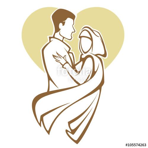 Muslim wedding and groom. Bride clipart elegance