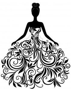 Bride clipart elegance. Vector silhouette of young