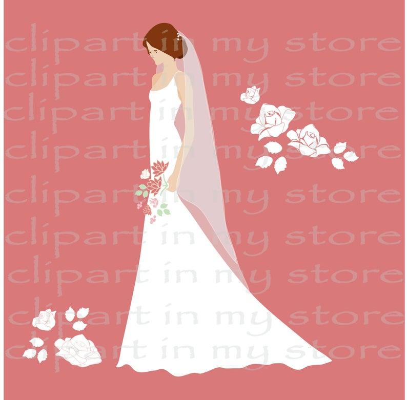Bride clipart elegant bridal. Silhouette brides set clip