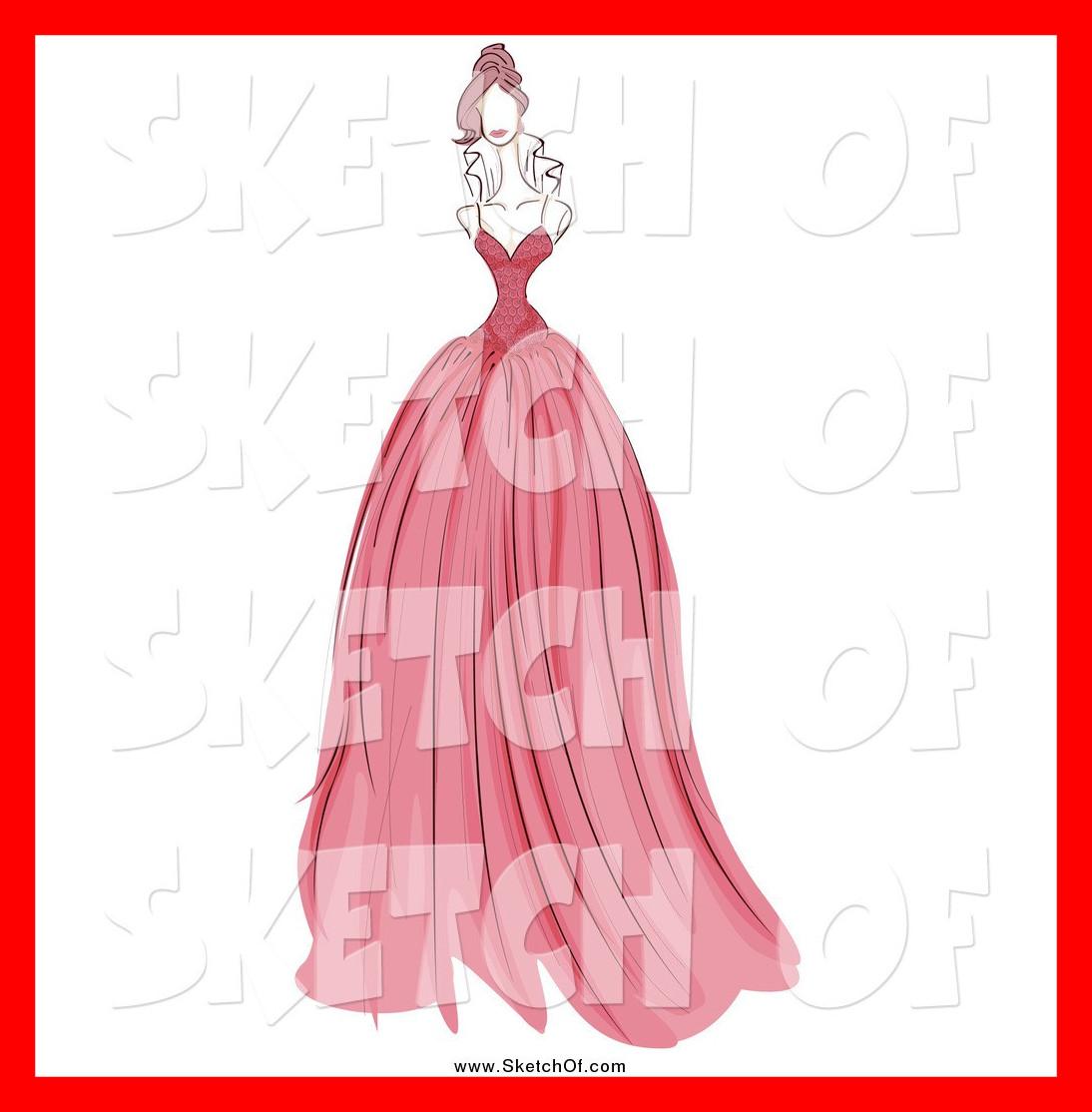 Best two cartoon women. Bride clipart evening gown