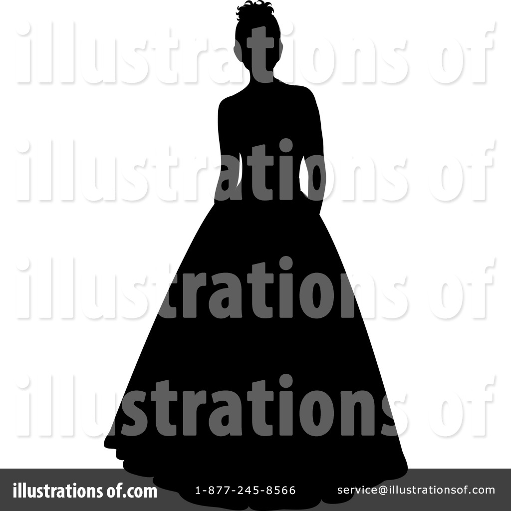 Illustration by pams royaltyfree. Bride clipart evening gown