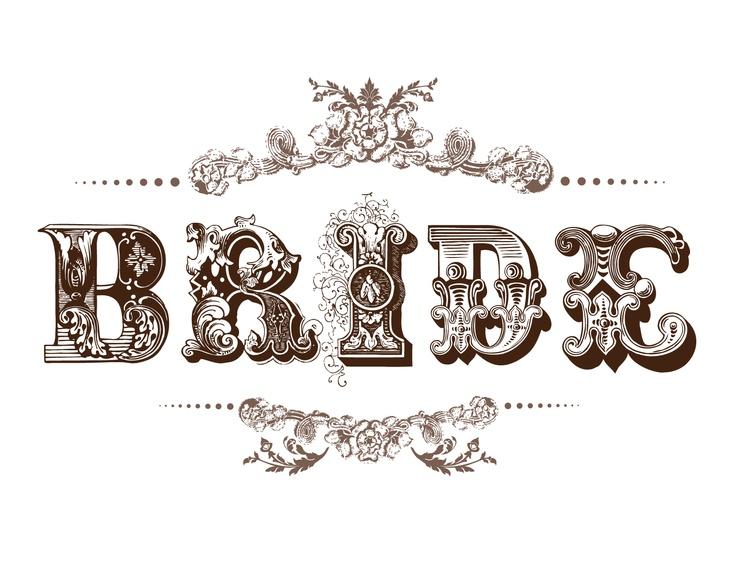 best wedding invitations. Bride clipart font