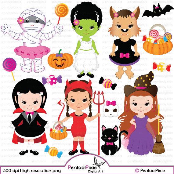 Girls cute witch frankenstein. Bride clipart halloween
