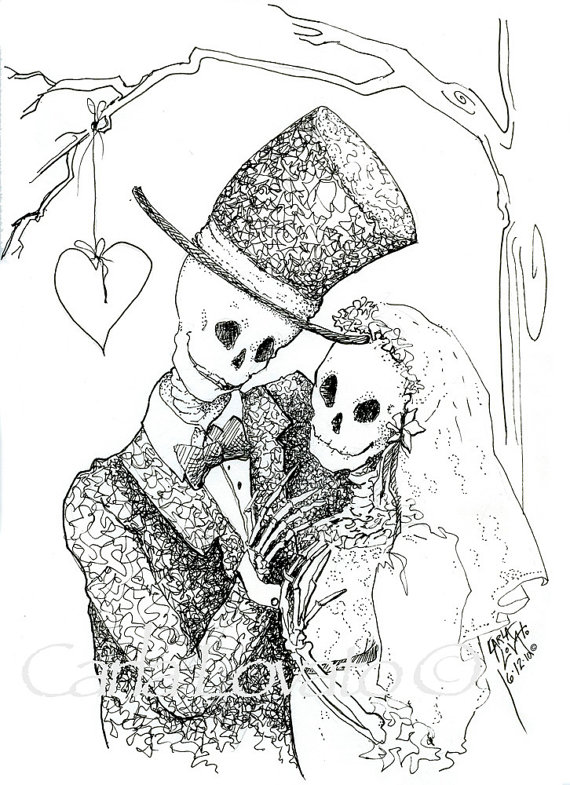 Pen and ink drawing. Bride clipart halloween