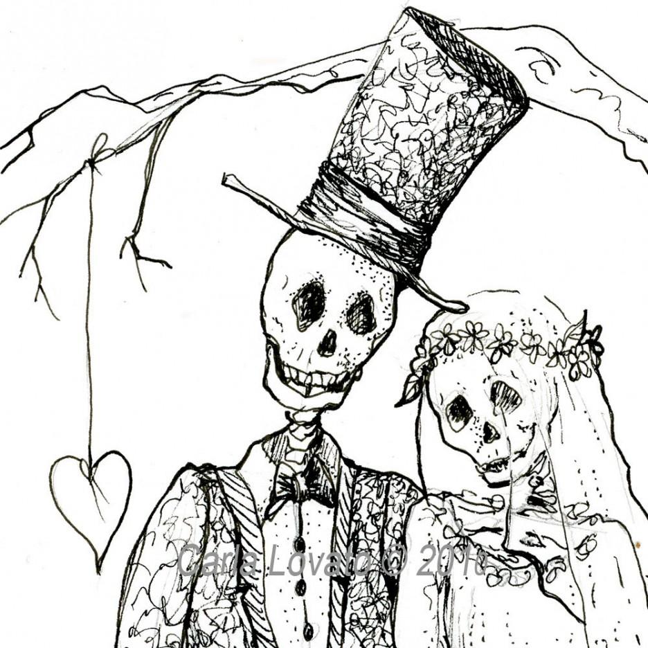 Bride clipart halloween. Black and white skeleton
