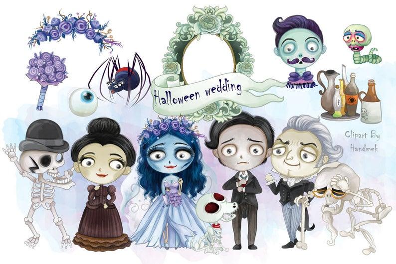 Wedding instant download png. Bride clipart halloween
